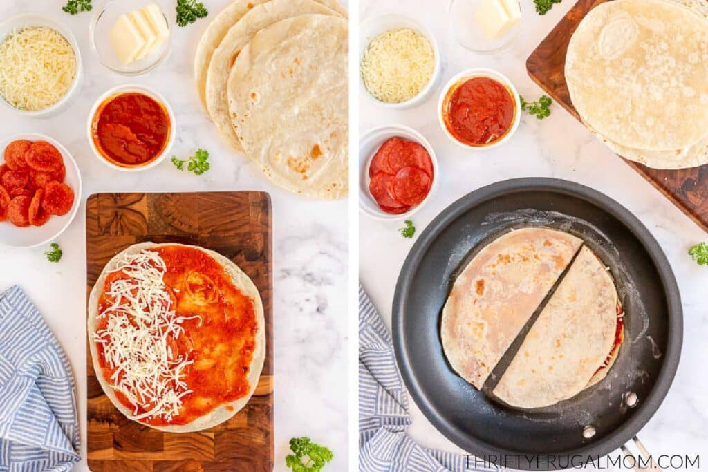 photos showing how to make pizza quesadillas