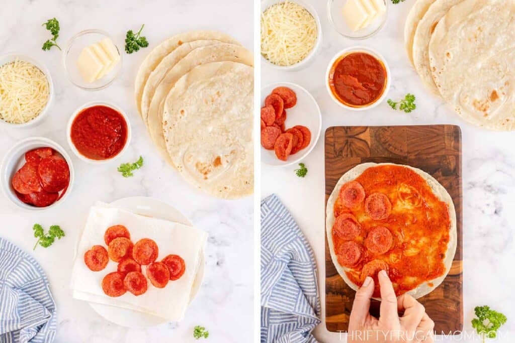 two photos showing how to begin making pepperoni pizza quesadillas