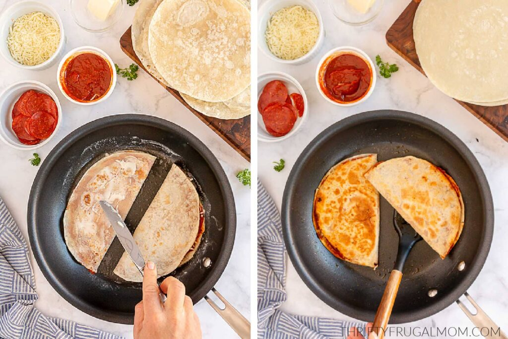 two photos showing the finals steps of making pizza quesadillas